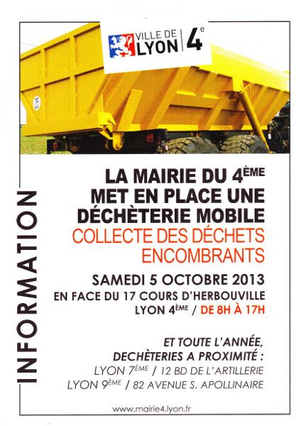 Collecte de d chets encombrants le samedi 5 octobre cours d 39 herbouville - Collecte encombrants lyon ...